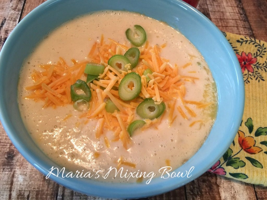 Cauliflower Soup with Garlic and Cheddar ~ Low Carb
