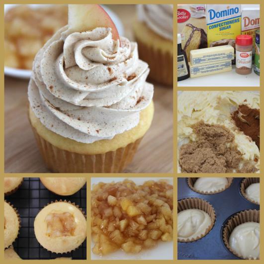 Apple Filled Cupcakes With Brown Sugar Cinnamon