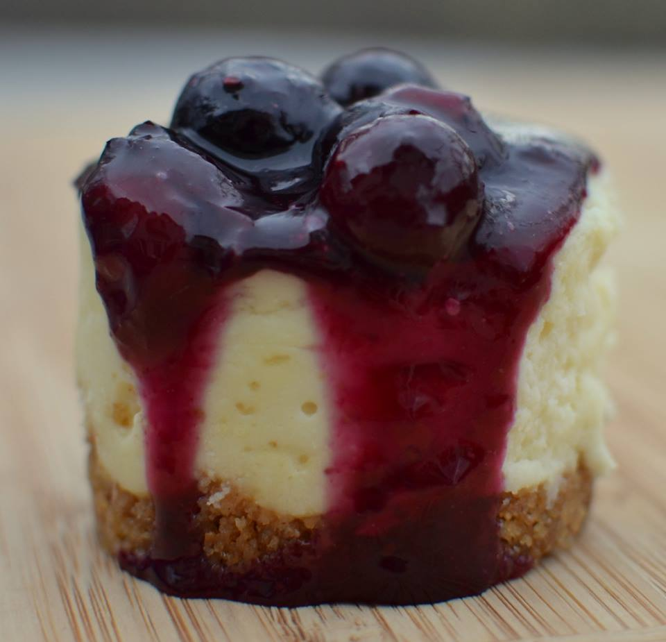 BLUEBERRY MINI WHITE CHOCOLATE CHEESECAKES