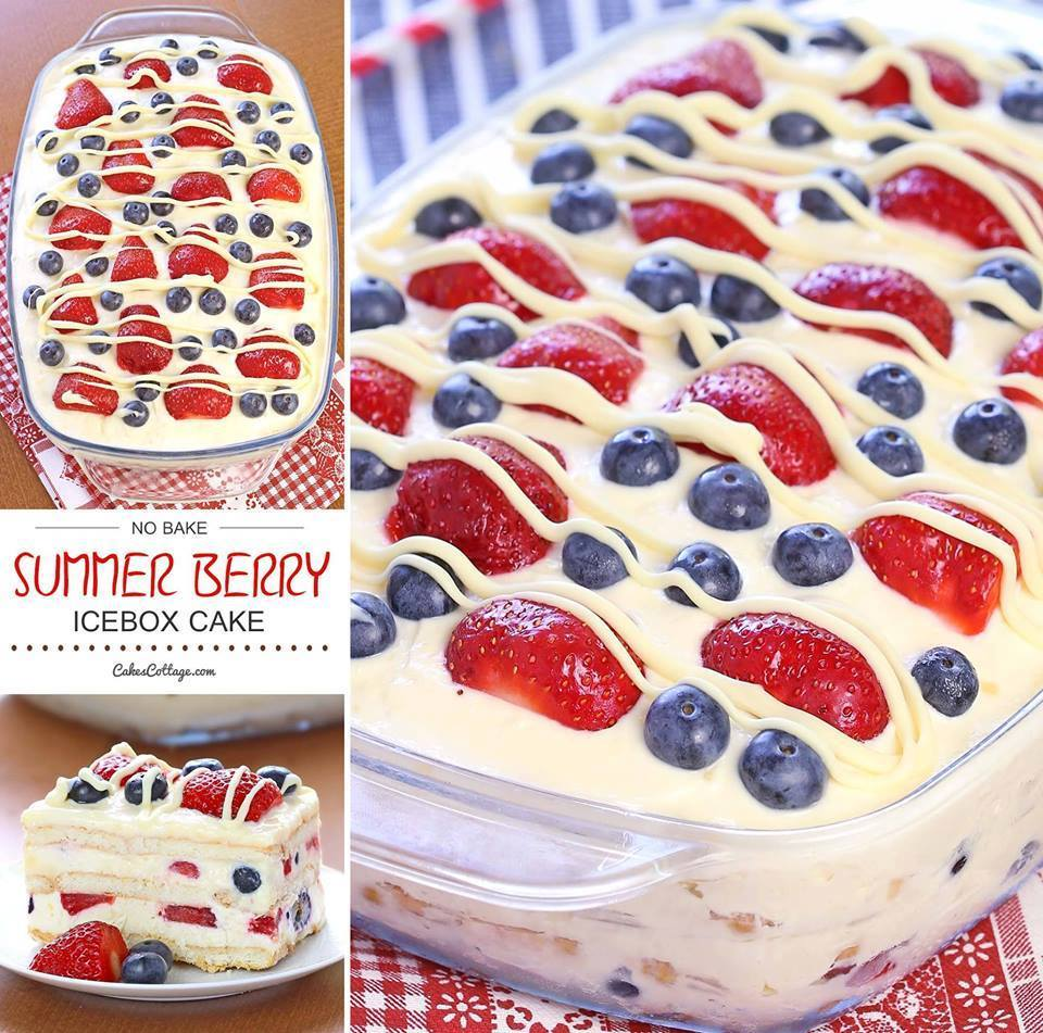 NO BAKE SUMMER BERRY ICE BOX CAKE