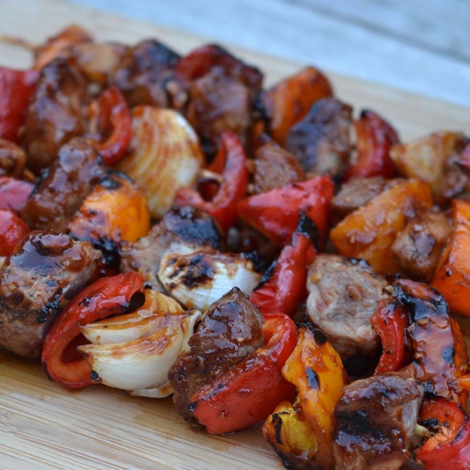 SPICY BARBECUE PORK  & PEPPER SHISH KAKBOBS