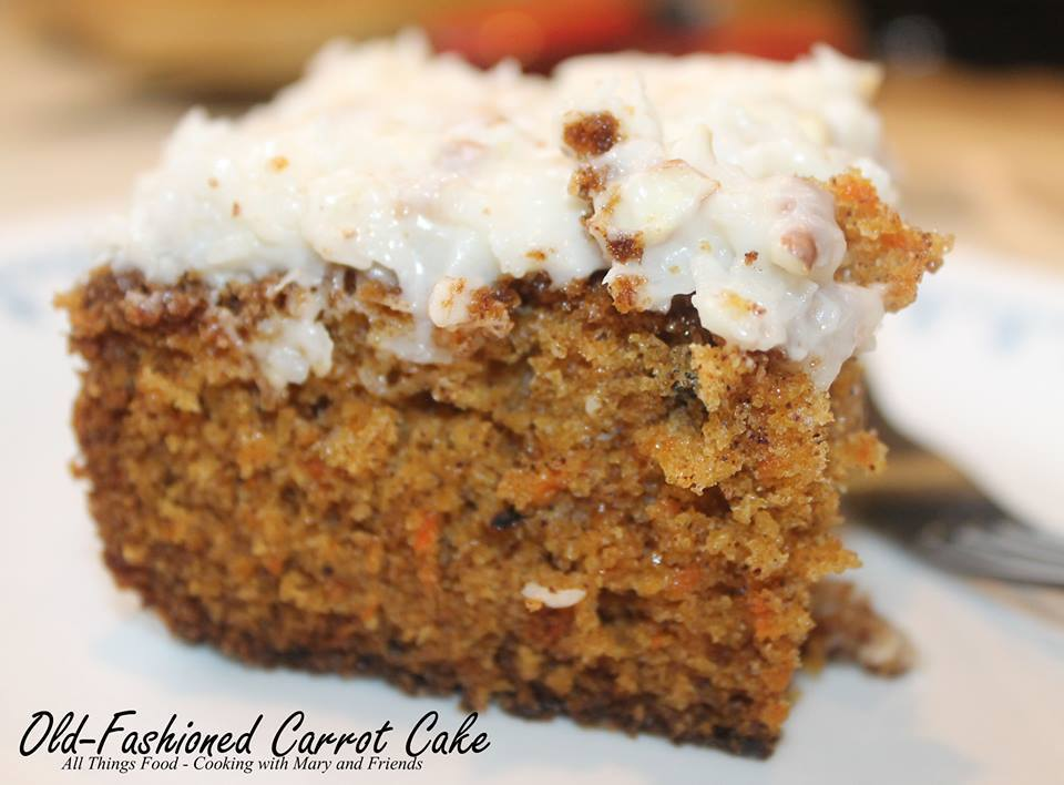 CARROT CAKE WITH CREAM CHEESE PECAN FROSTING