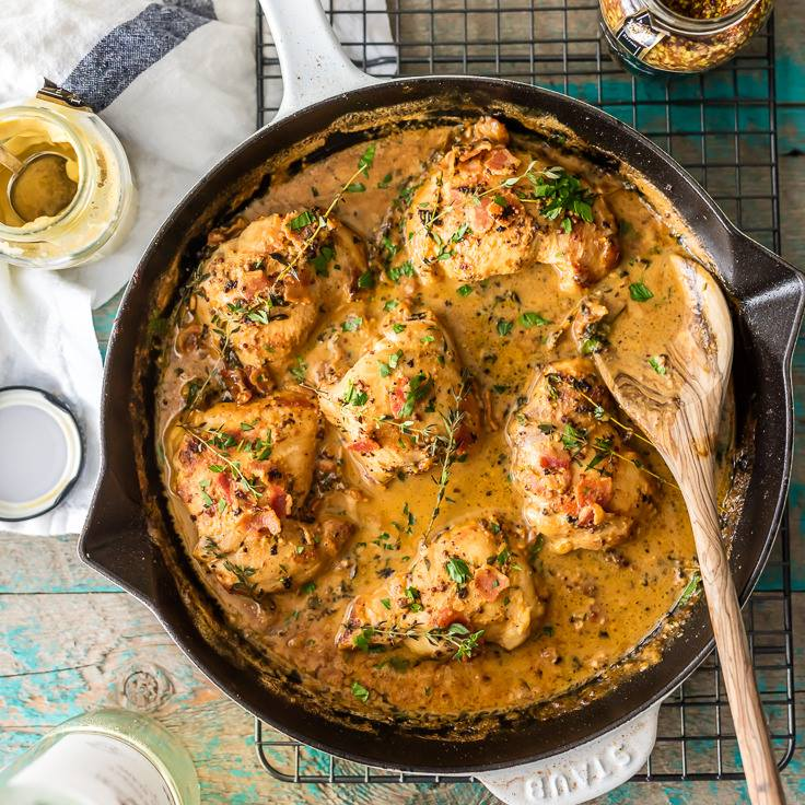 MUSTARD CHICKEN BACON SKILLET