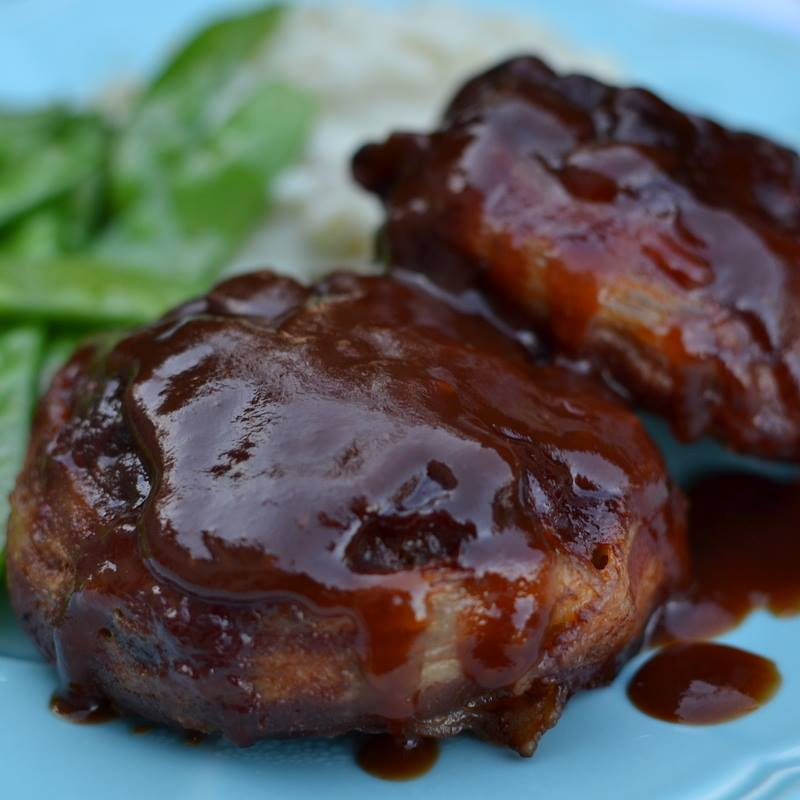 BACON WRAPPED MINI MEATLOAVES WITH ASIAN BRANDY SAUCE