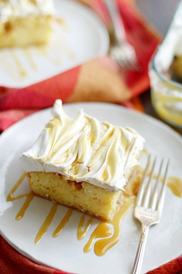 SALTED CARAMEL CHEESECAKE POKE CAKE