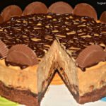 PEANUT BUTTER CUP CHEESECAKE WITH BROWNIE CRUST