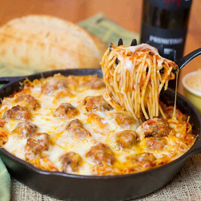 Maria's Mixing Bowl | Baked Spaghetti and Meatballs