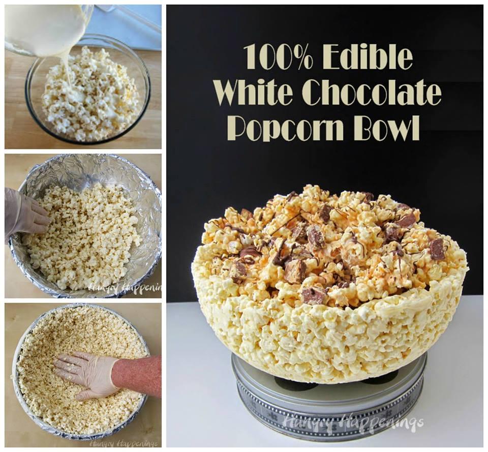EDIBLE WHITE CHOCOLATE POPCORN BOWL