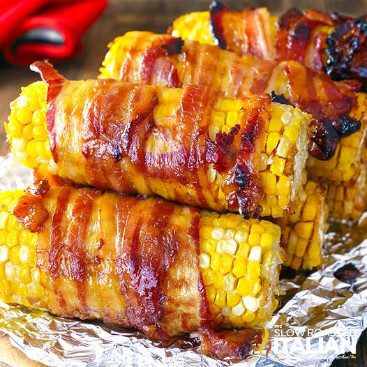 CANDIED BACON WRAPPED CORN