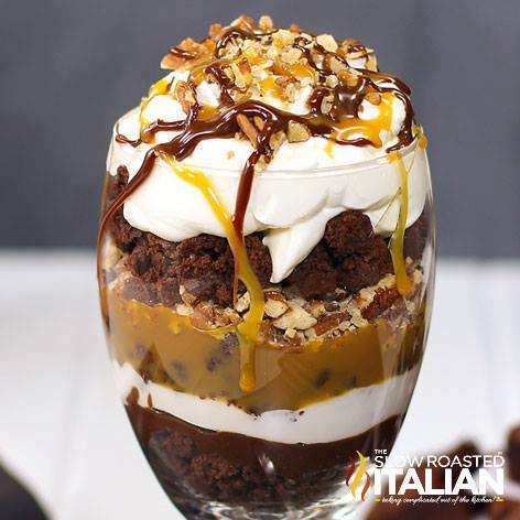 Double Chocolate Caramel Turtle Trifle