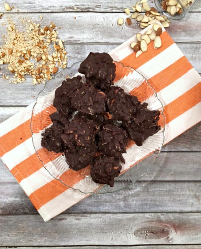 CHOCOLATE ALMOND PRETZEL CLUSTERS