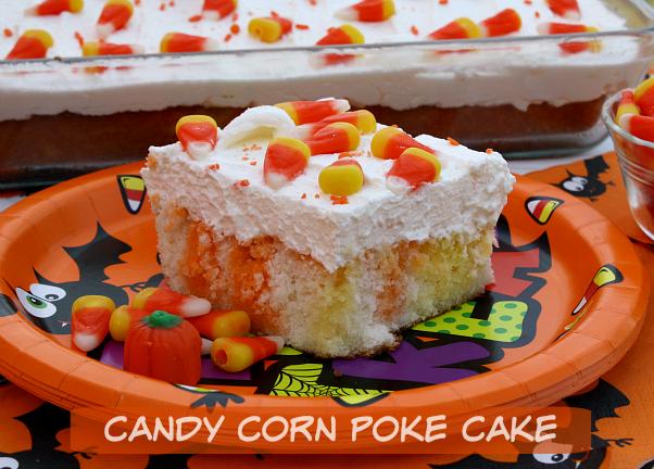 CANDY CORN JELL-O POKE CAKE