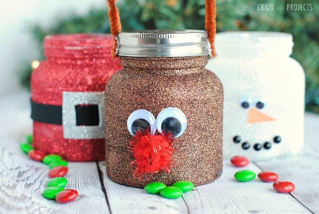 GLITTER CHRISTMAS TREAT JARS