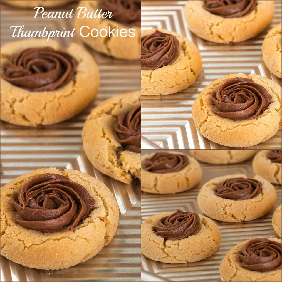 PEANUT BUTTER THUMBPRINT COOKIES WITH REESES SPREAD