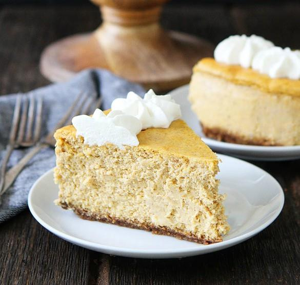 PUMPKIN CHEESECAKE WITH BROWN BUTTER GINGERSNAP CRUST