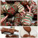 CHOCOLATE DIPPED MARSHMALLOWS ON CANDYCANES