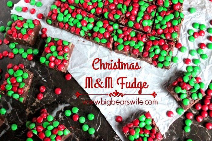 THREE INGREDIENT M &M  CHRISTMAS FUDGE