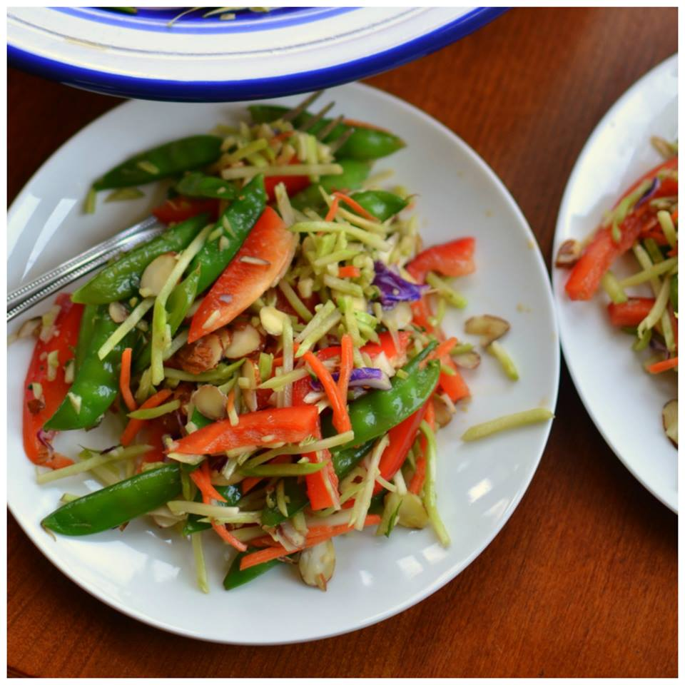 ASIAN BROCCOLI SLAW WITH SESAME GINGER DRESSING