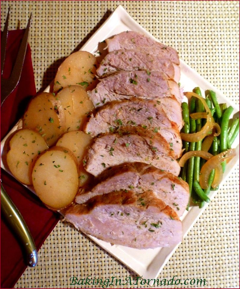 CROCKPOT PORK ROAST WITH FRENCH BEANS AND NEW POTATOES