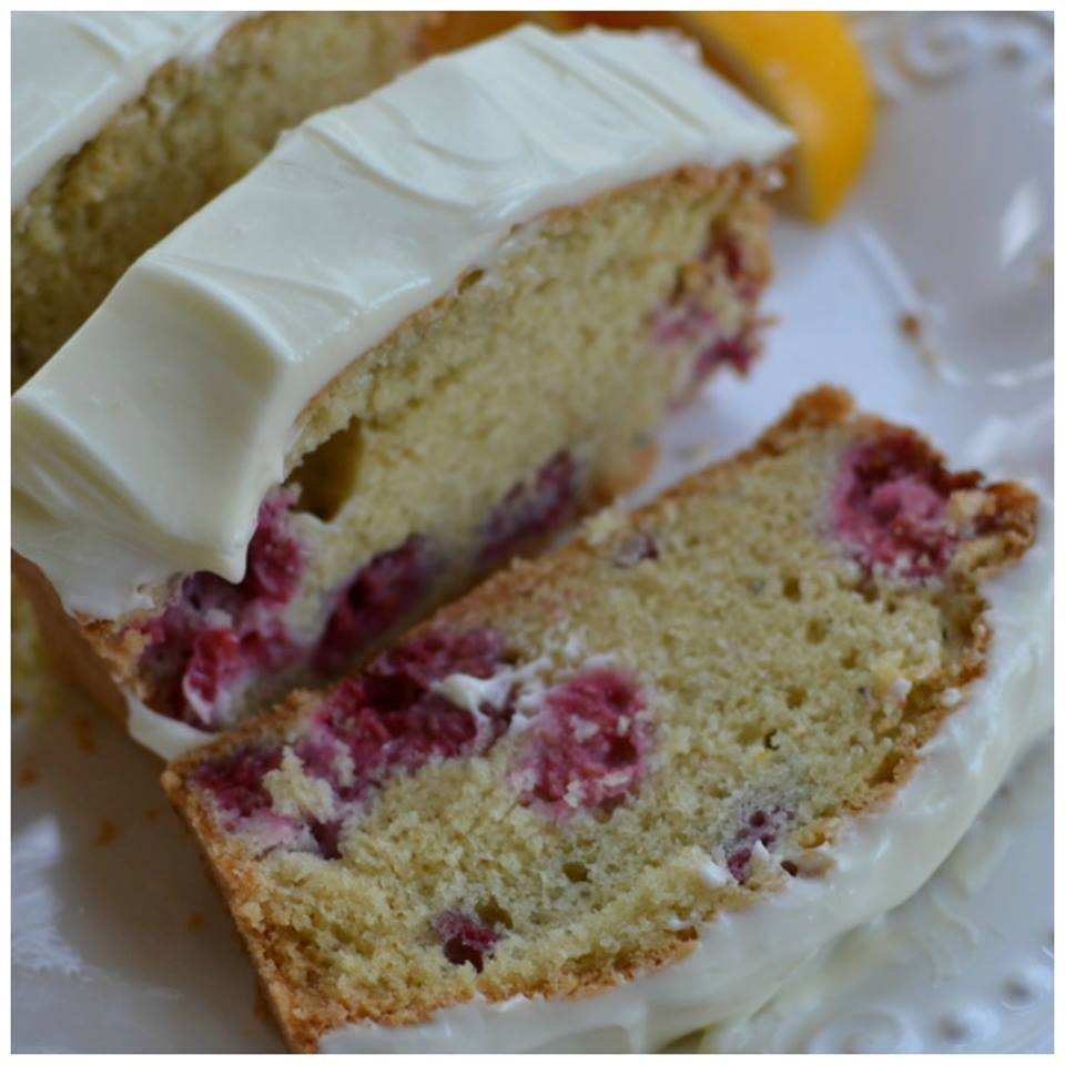 Raspberry Lemon Bread with Lemon Cream Cheese Frosting