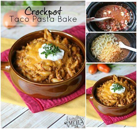 Easy Crockpot Taco Pasta Bake