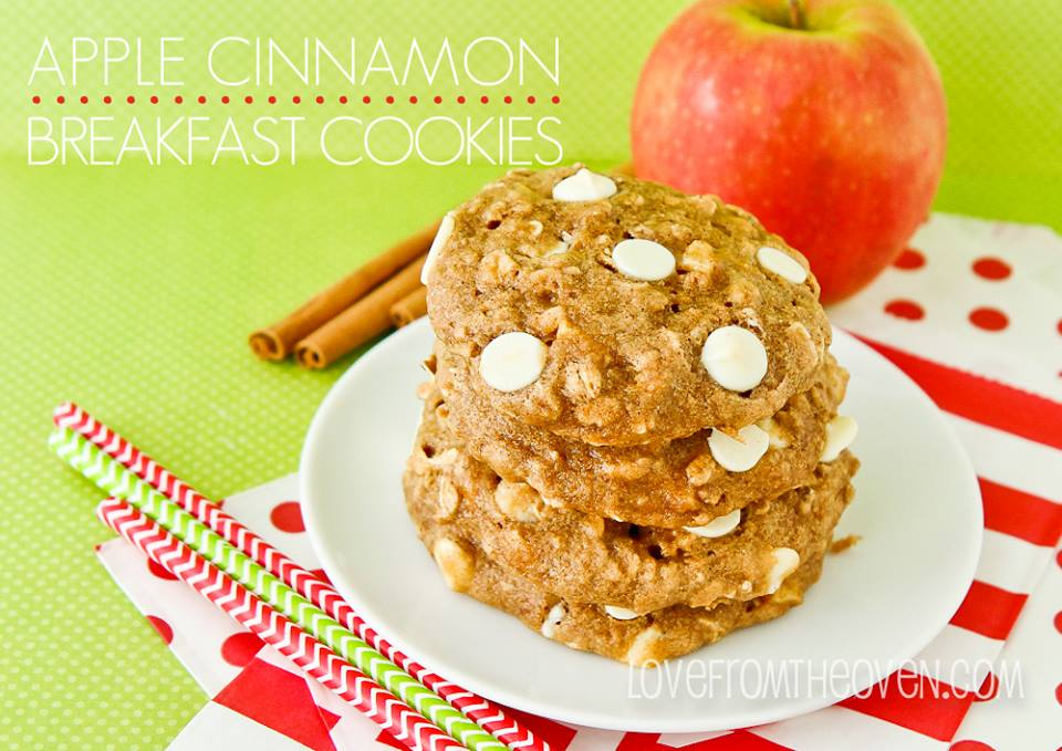 White Chocolate Apple Cinnamon Oatmeal Breakfast Cookies