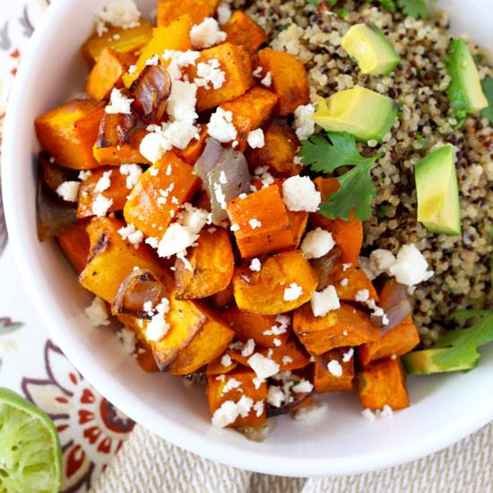 Mexican Buddha Bowl of Roasted Vegetables and Cilantro Lime Quinoa
