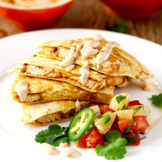BBQ Chicken Quesadilla with Smoked Gouda Cheese