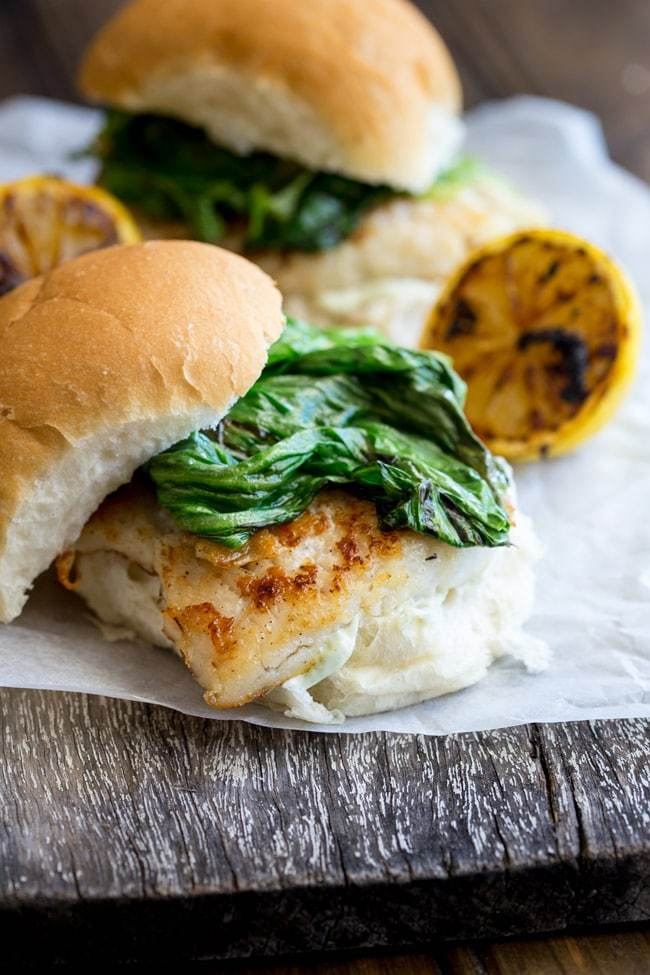 Fish Burger with Charred Lettuce and Tarragon Mayo