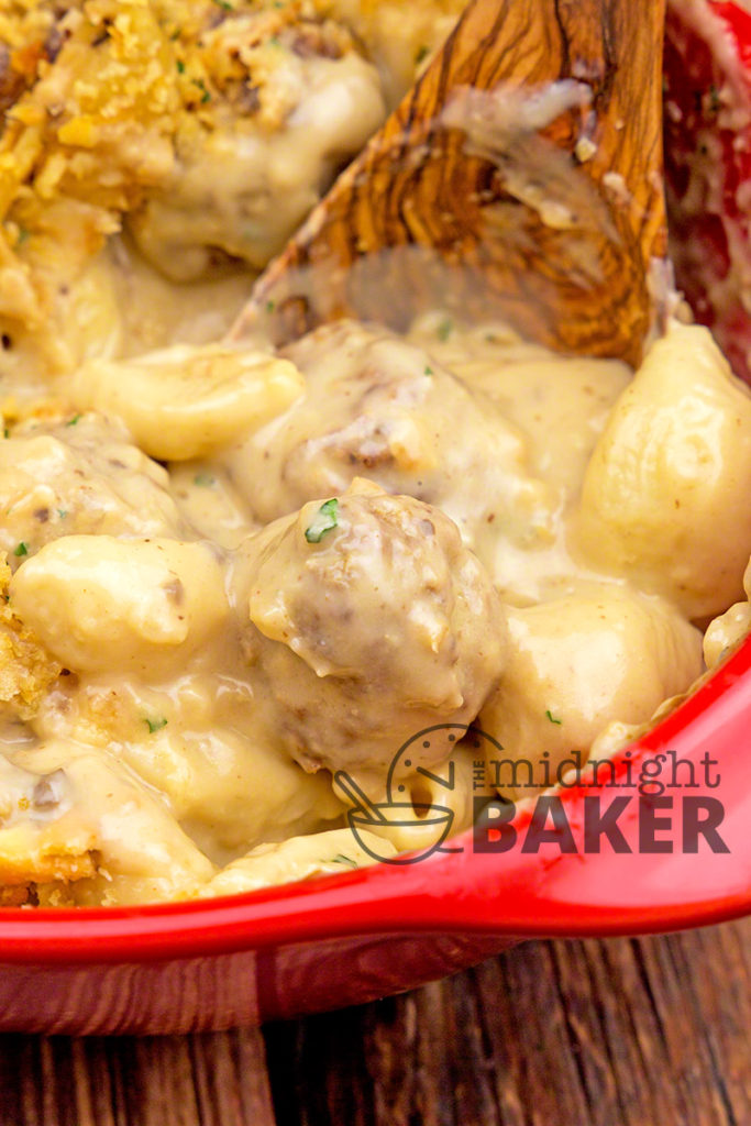 Cheesy Meatballs and Shells Casserole