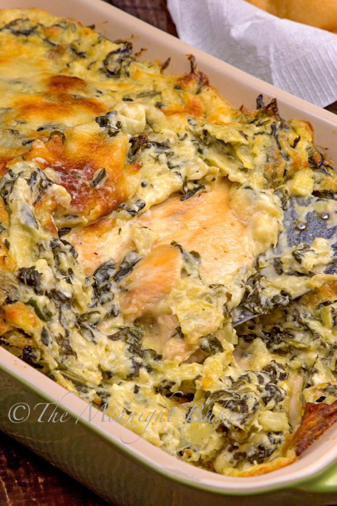 Hot Spinach Dip Chicken Casserole - Maria's Mixing Bowl