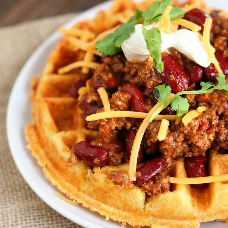 Crispy Cheddar Cornbread Waffles