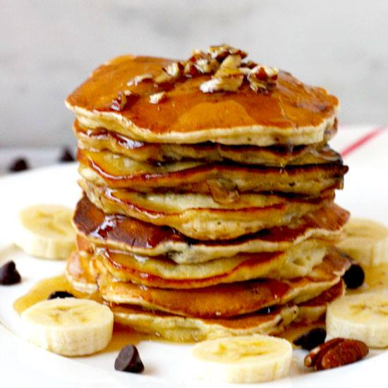Chocolate Chip Banana Pancakes with Maple Pecan Butter