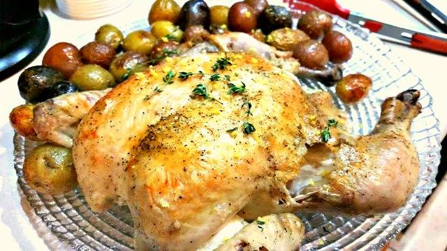 Flat Roasted Chicken with Tiny Potatoes