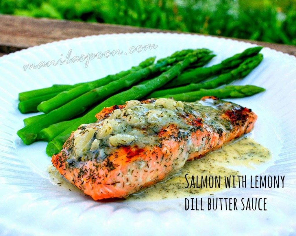 Salmon with Lemony Dill Butter Sauce
