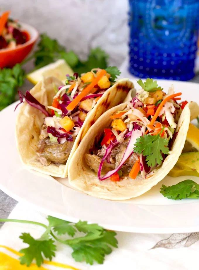 """Smoky Pulled Pork """"Chile Verde Style"""" with Pineapple-Cilantro Slaw"""