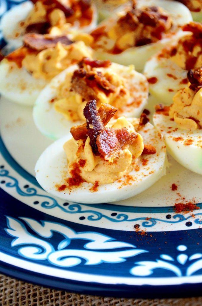Bacon Sriracha Deviled Eggs