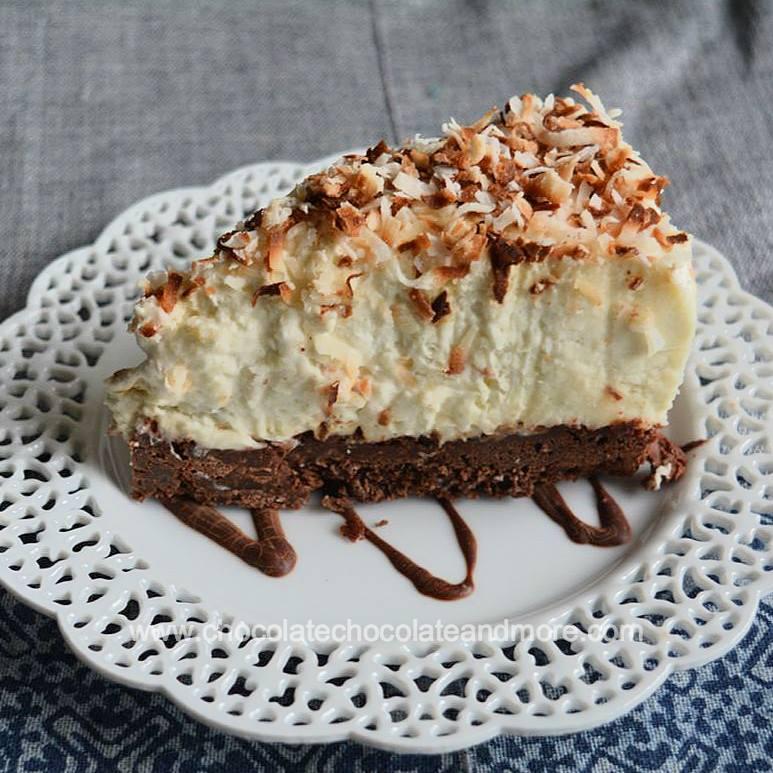 Brownie-Bottom Coconut Cream Cheesecake