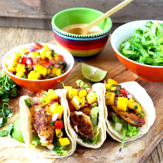 Blackened Fish Tacos with Mango Salsa and Sriracha Aioli