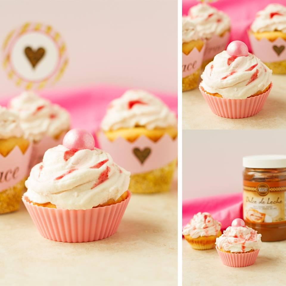Dulce de Leche Cupcakes with Strawberry Frosting