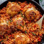 One Pan Tomato Basil Chicken & Rice