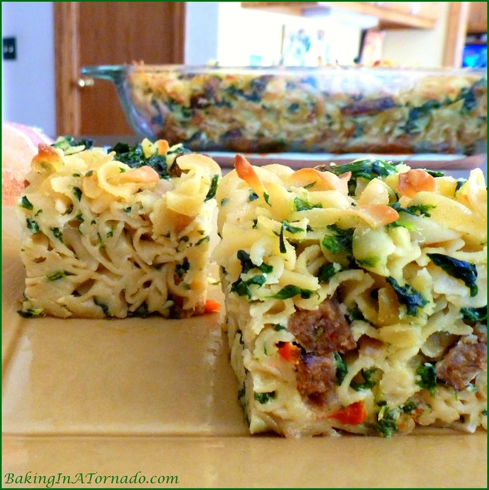 Spicy Sausage and Noodle Squares