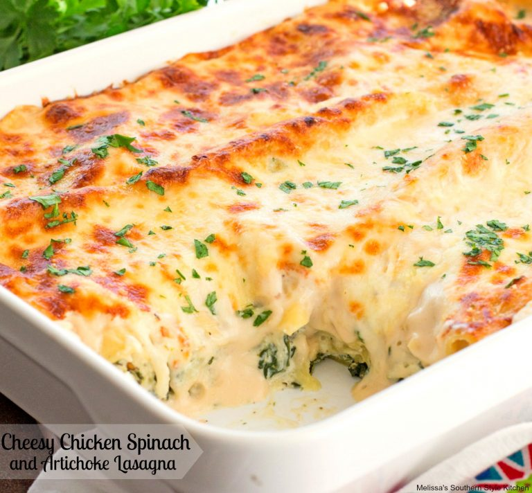 Maria's Mixing Bowl | Cheesy Chicken Spinach and Artichoke Lasagna