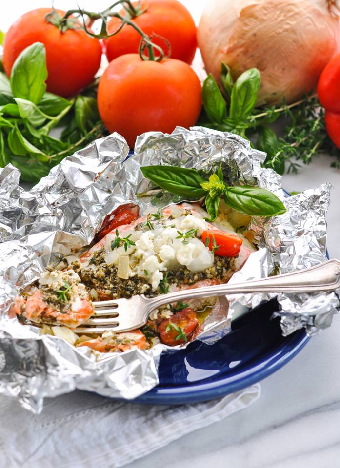 5-Ingredient Mediterranean Salmon in Foil Packets