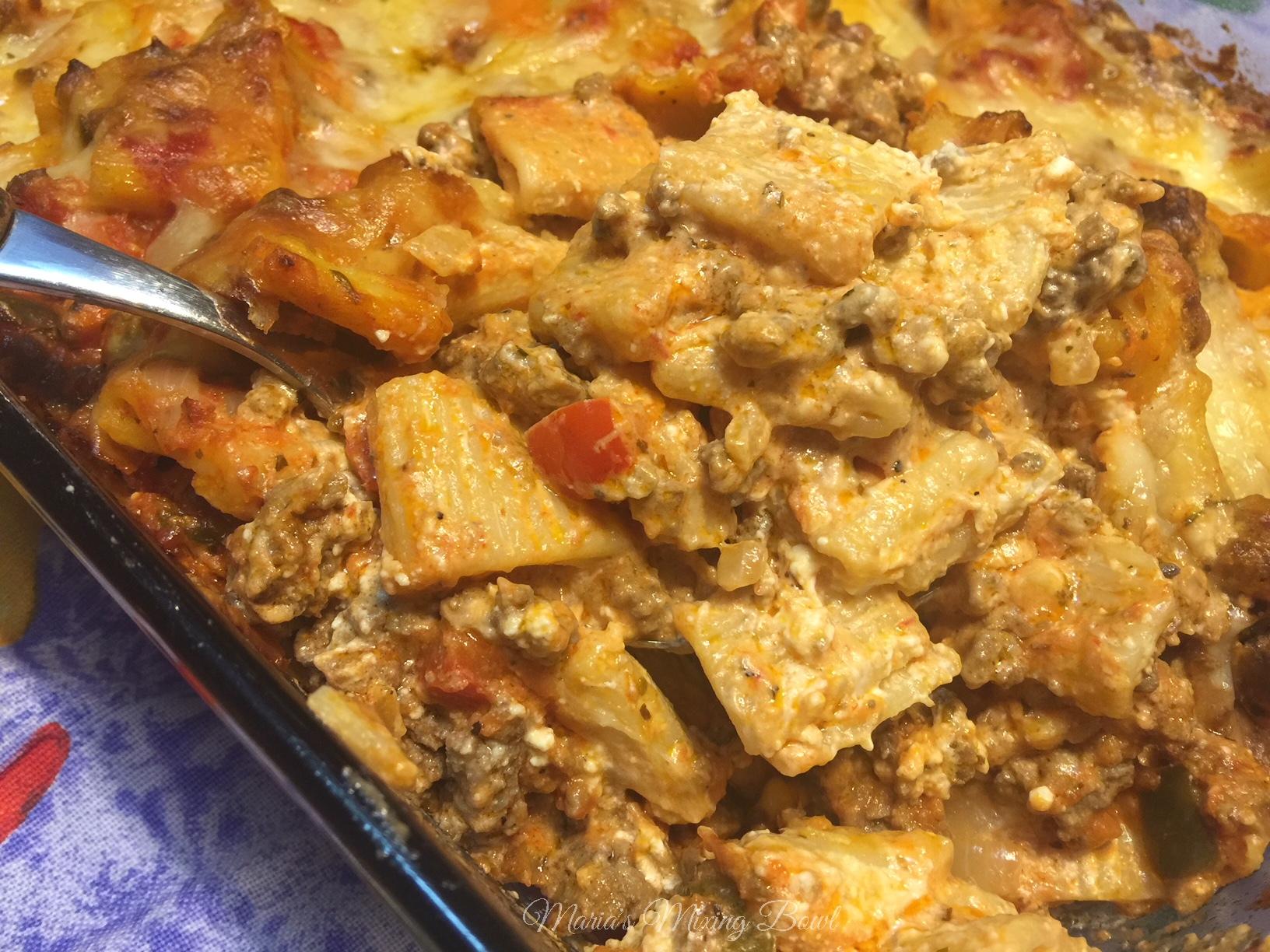 Cheesy Cream Cheese Hamburger Pasta Casserole Maria S Mixing Bowl