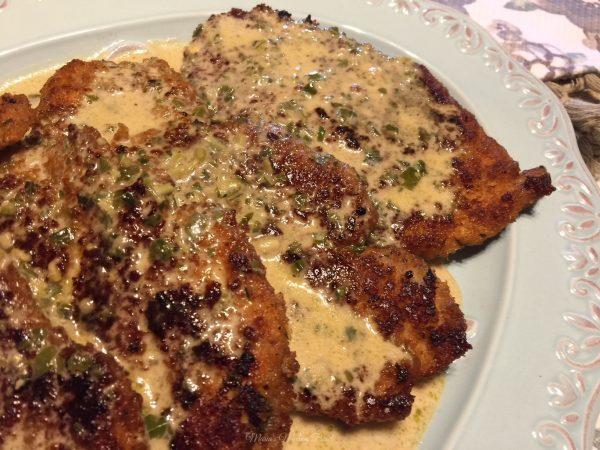 Chicken Cutlets in Creamy Wine Pesto Sauce