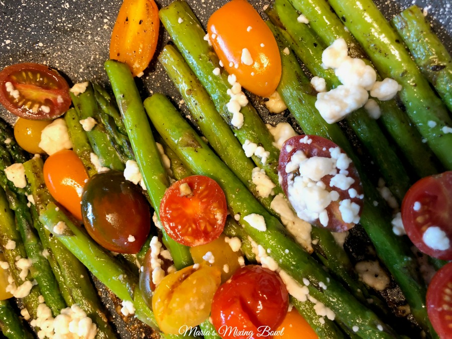 summer asparagus feta and tomatoes
