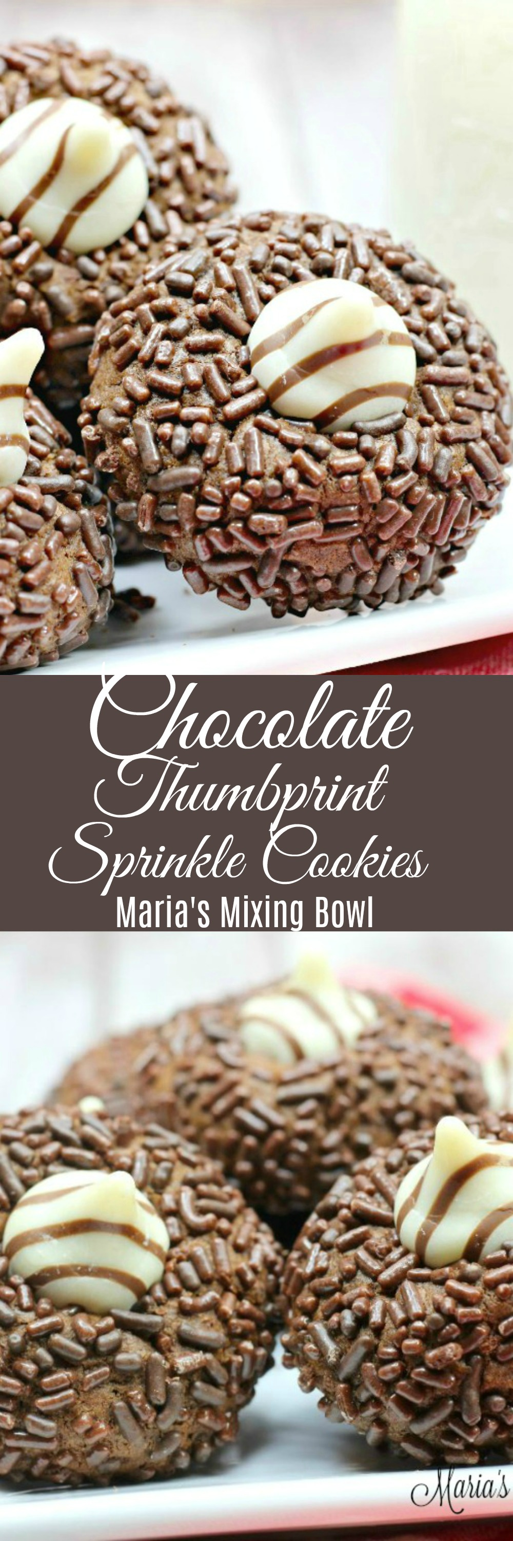 Chocolate Sprinkle Thumbprint Cookies