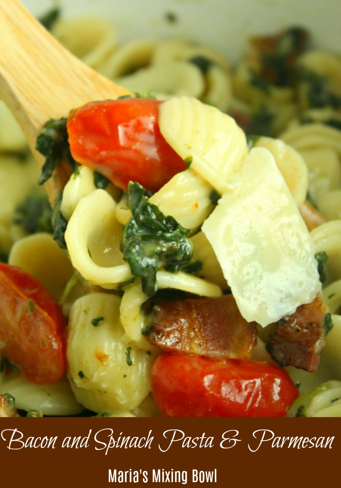 Bacon and Spinach Pasta with Parmesan