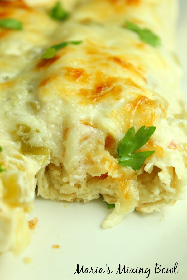 Creamy White Chicken Enchilada Casserole